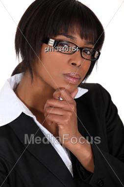 Portrait Of A Shrewd Woman Stock Photo