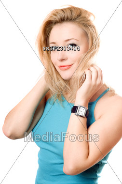 Portrait Of A Smiling Pretty Blonde. Stock Photo