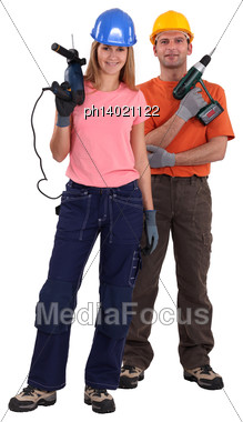 Portrait Of A Team Of Tradespeople Stock Photo