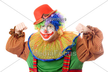 Portrait Of An Aggressive Clown. Stock Photo