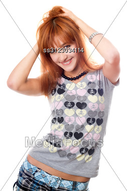 Portrait Of Attractive Red-haired Girl. Stock Photo