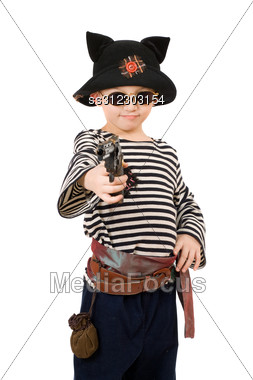 Portrait Of A Boy Dressed As Pirate. Stock Photo