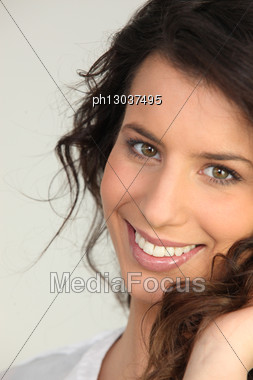 Portrait Of Brunette Stock Photo