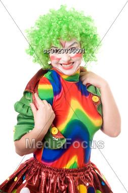 Portrait Of Cheerful Female Clown. Stock Photo