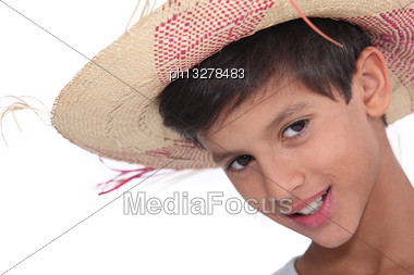 Portrait Of Child Wearing A Hat Stock Photo