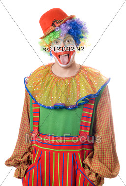 Portrait Of A Clown Showing His Tongue Stock Photo