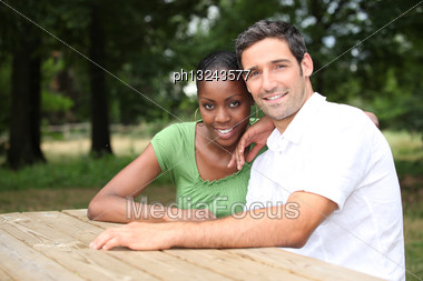 Portrait Of A Couple In The Countryside Stock Photo