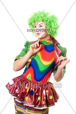 Portrait Of Expressive Female Clown. Stock Photo