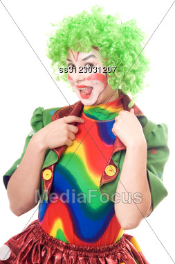 Portrait Of Female Clown Showing Tongue. Stock Photo