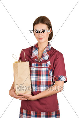 Portrait Of A Female Seller On A White Stock Photo