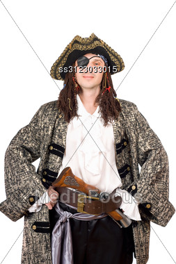 Portrait Of Man Dressed As Pirate. Stock Photo