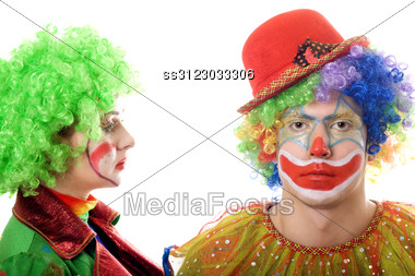 Portrait Of A Pair Of Serious Clowns. Stock Photo
