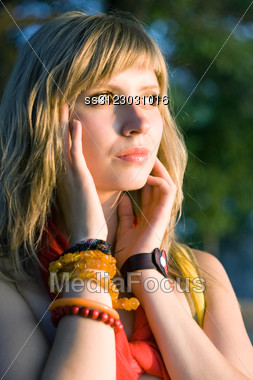 Portrait Of The Pensive Beautiful Young Blonde Stock Photo
