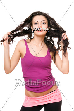 Portrait Of Playful Young Brunette. Stock Photo