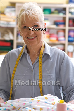 Portrait Of Seamstress Stock Photo