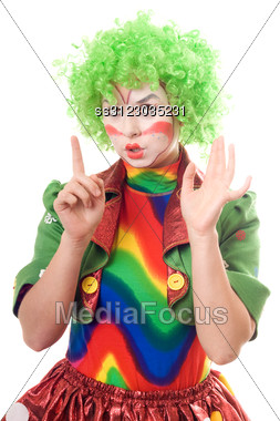Portrait Of Serious Female Clown. Stock Photo