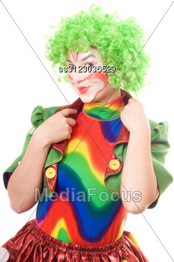 Portrait Of Smiling Female Clown. Stock Photo