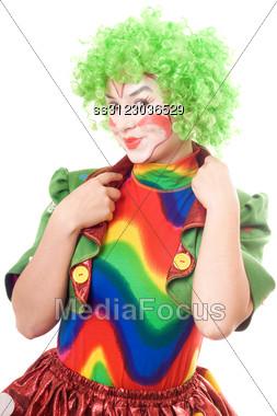 Portrait Of Smiling Female Clown. Stock Photo