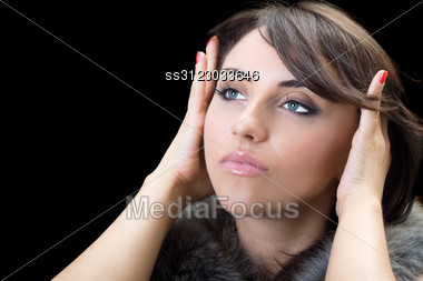 Portrait Of Thoughtful Brunette. Stock Photo