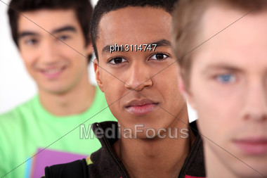 Portrait Of Three Teenage Faces Stock Photo