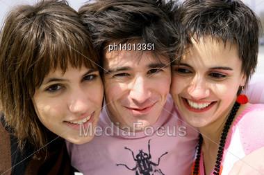 Portrait Of Three Teenagers Stock Photo