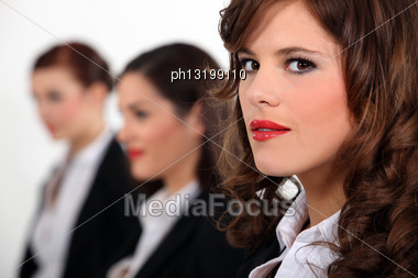 Portrait Of Three Women's Faces Stock Photo