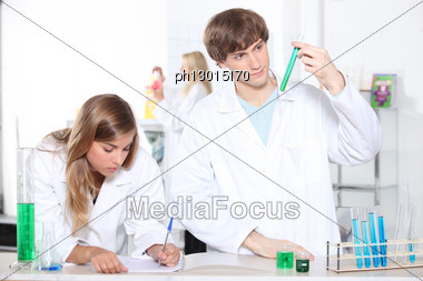 Portrait Of Two Students In A Lab Stock Photo