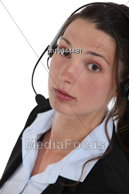 Portrait Of Woman In Call Center Stock Photo