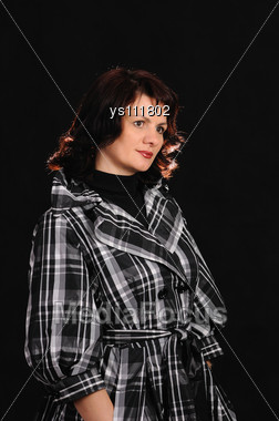 Portrait Of The Woman On Black Background Stock Photo