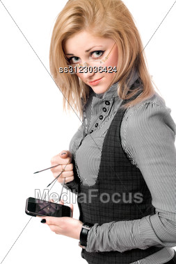 Portrait Of Young Blonde With Smartphone. Stock Photo