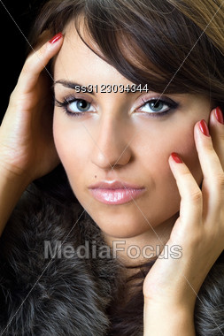 Portrait Of Young Fascinating Woman. Stock Photo