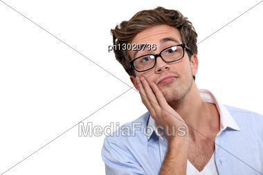Portrait Of Young Intellectual Stock Photo