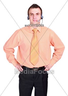 Portrait Of Operator Call-centre On White Background. Isolated Over White Stock Photo