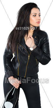 Portrait Of Pensive Brunette With A Bottle Posing In Black Jacket. Isolated On White Stock Photo