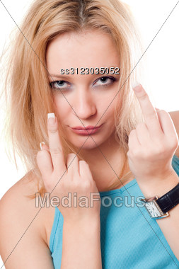 Portrait Of Pretty Blonde Showing Indecent Signs. Stock Photo