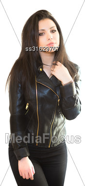 Portrait Of Pretty Brunette In Black Jacket. Isolated On White Stock Photo