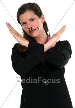 Portrait Of Pretty Businesswoman Making Stop Gesture With Hands Stock Photo