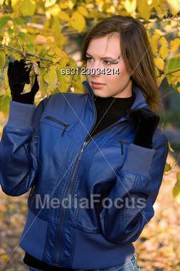 Portrait Of A Pretty Girl Amongst The Autumn Leaves Stock Photo