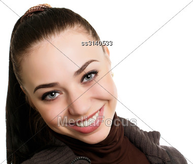Portrait Of A Pretty Smiling Lady With Ponytail. Isolated On White Stock Photo