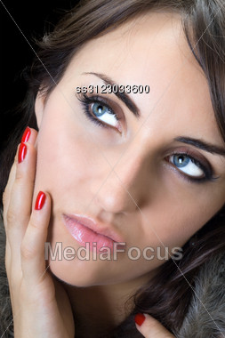 Portrait Of Pretty Woman With Thoughtful Look. Stock Photo