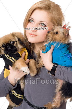 Portrait Of Pretty Young Blonde With Two Dogs. Stock Photo