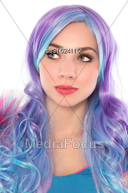 Portrait Of Pretty Young Woman With Blue And Hair. Isolated On White Stock Photo