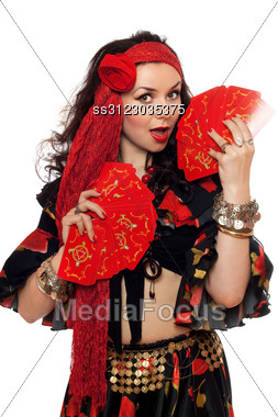 Portrait Of Sensual Gypsy Woman With Cards. Stock Photo