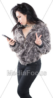 Portrait Of Sexy Brunette With A Mobile. Isolated On White Stock Photo