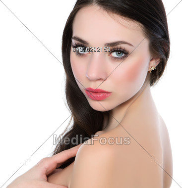 Portrait Of Sexy Naked Brunette. Isolated On White Stock Photo