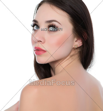 Portrait Of Sexy Naked Woman. Isolated On White Stock Photo