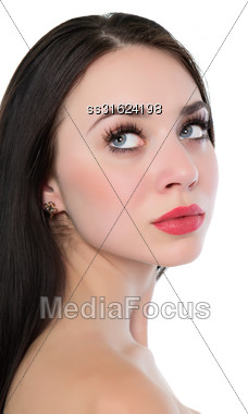 Portrait Of Sexy Thoughtful Woman With Straight Black Hair. Isolated On White Stock Photo