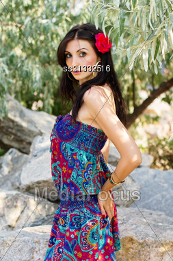 Portrait Of Sexy Young Brunette In A Dress Outdoors Stock Photo