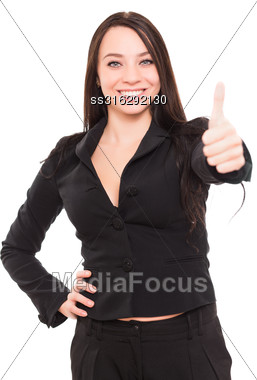 Portrait Of Sexy Young Brunette Wearing Black Jacket. Isolated On White Stock Photo