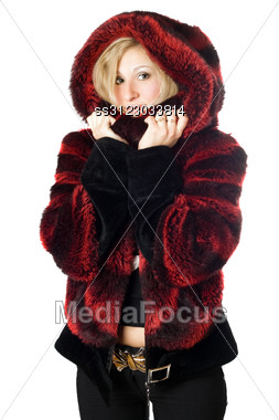 Portrait Of Smiling Blond Woman In Fur Jacket. Stock Photo